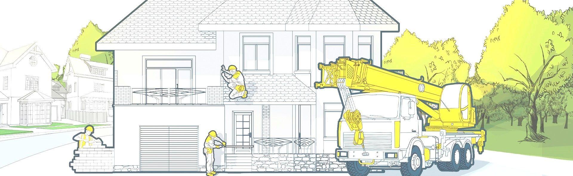 Схематичное строительство дома